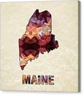 Polygon Mosaic Parchment Map Maine Canvas Print