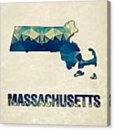 Polygon Mosaic Parchment Map Massachusetts Canvas Print