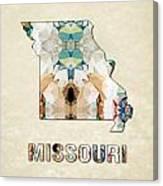 Polygon Mosaic Parchment Map Missouri Canvas Print