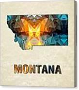 Polygon Mosaic Parchment Map Montana Canvas Print