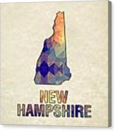 Polygon Mosaic Parchment Map New Hampshire Canvas Print