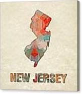 Polygon Mosaic Parchment Map New Jersey Canvas Print