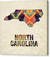 Polygon Mosaic Parchment Map North Carolina Canvas Print