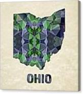 Polygon Mosaic Parchment Map Ohio Canvas Print