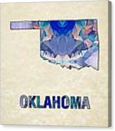 Polygon Mosaic Parchment Map Oklahoma Canvas Print