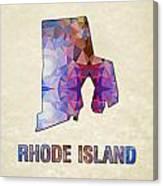Polygon Mosaic Parchment Map Rhode Island Canvas Print