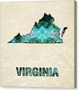 Polygon Mosaic Parchment Map Virginia Canvas Print