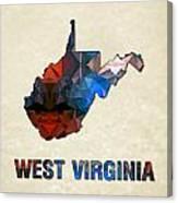 Polygon Mosaic Parchment Map West Virginia Canvas Print