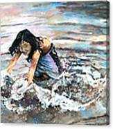 Polynesian Child Playing With Water Canvas Print