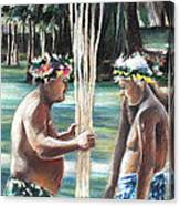 Polynesian Men With Spears Canvas Print