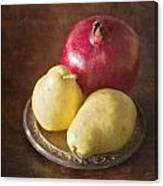 Pomegranate And Yellow Pear Still Life Canvas Print