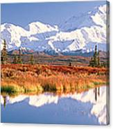 Pond, Alaska Range, Denali National Canvas Print