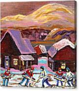 Pond Hockey Cozy Winter Scene Canvas Print