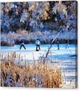 Pond Hockey - Painterly Canvas Print