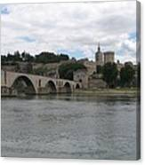 Pont Saint Benezet And Pope Palace Canvas Print
