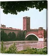Pont Scaligero On Adige River Canvas Print