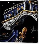 Ponte Di Rialto - Grand Canal Venise Gondola Illustration Canvas Print