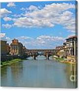 Ponte Vecchio Over The Arno River At Florence Italy Canvas Print