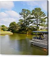 Pontoon Boat Ride On The Lake Canvas Print
