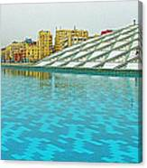 Pool And Roof Of Alexandria Library-egypt  Canvas Print