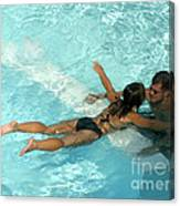 Pool Couple 9717b Canvas Print