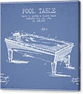 Pool Table Patent From 1901 - Light Blue Canvas Print