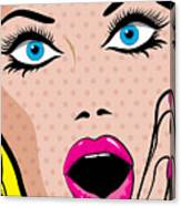Pop Art Excited Woman. Vector Canvas Print