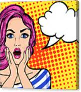 Pop Art Surprised Woman With Open Mouth Canvas Print
