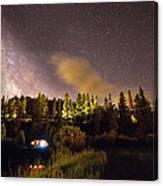 Pop Up Camper Under The Milky Way Sky Canvas Print