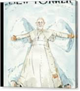 Pope Francis Makes A Snow Angel Canvas Print