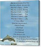 Pope Francis St. Francis Simple Prayer Dolphins Tking A Leap Of Faith Canvas Print
