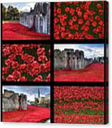Poppies At The Tower Collage Canvas Print
