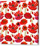 Poppies Field. Seamless Vector Pattern Canvas Print