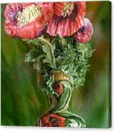 Poppies In A Poppy Vase Canvas Print
