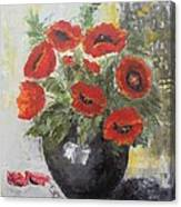 Poppies In A Vase Canvas Print
