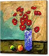 Poppies In A Vase With Fruit Canvas Print