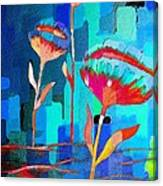 Poppies On Blue 1 Canvas Print