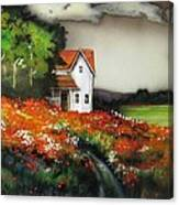 Poppies On The Old Homestead Canvas Print