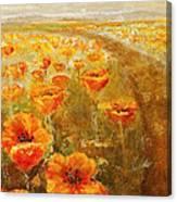 Poppy Field  Triptic Middle Canvas Print