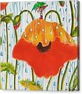 Poppy With Piper  In The Rain Canvas Print