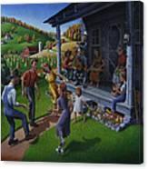 Porch Music And Flatfoot Dancing - Mountain Music - Farm Folk Art Landscape - Square Format Canvas Print