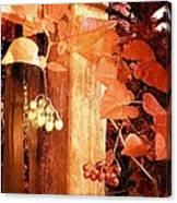 Porch Post Berries Rust Canvas Print