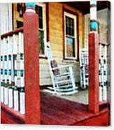 Porch With Red White And Blue Railing Canvas Print