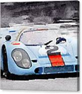 Porsche 917 Gulf Watercolor Canvas Print