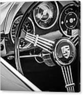Porsche Steering Wheel Emblem -2043bw Canvas Print