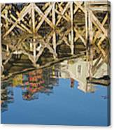 Port Clyde Maine Lobster Traps Reflecting In Water Canvas Print