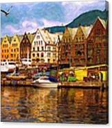 Port Life Watercolor Canvas Print