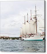 Juan Sebastian De Elcano Famous Tall Ship Of Spanish Navy Visits Port Mahon In Front Of Bloody Islan Canvas Print