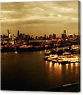 Port Miami Golden Photopaint Canvas Print