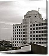 Port Of Galveston Building In B And W Canvas Print